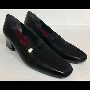 Naturalizer Black Leather Canvas Pumps Heels